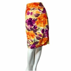 CHRISTOPHER & Banks Floral Linen Skirt -Sz 10